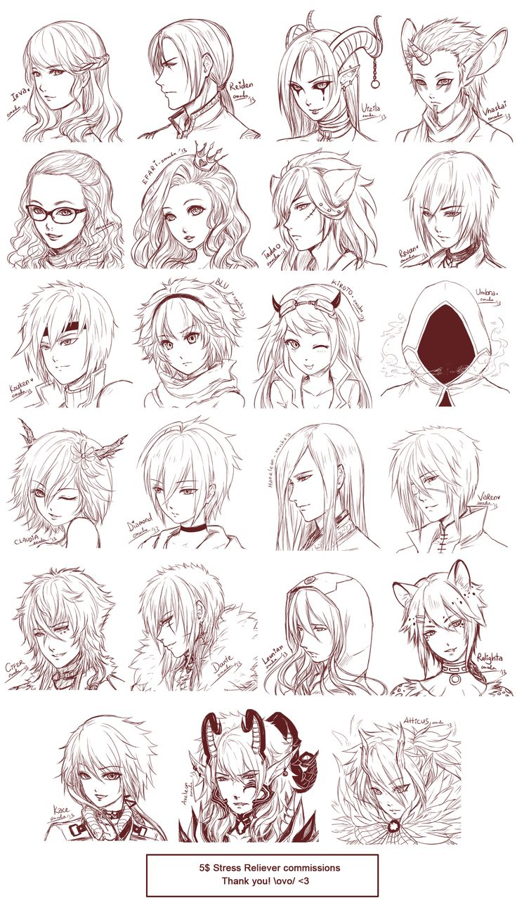 Inspiration: Hair  Expressions ----Manga Art Drawing Sketching Head Hairstyle---- [[[Batch15 by omocha-san on deviantART]]]