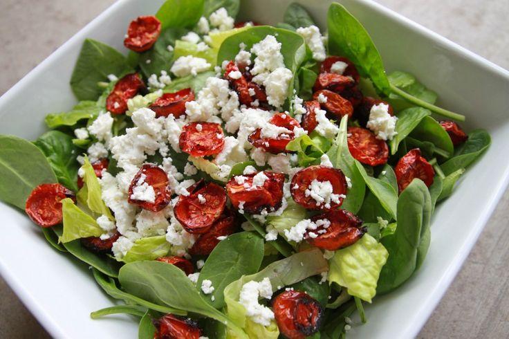 Roasted Tomato & Goat Cheese SaladCheese Salad, Roasted Tomatoes, Salad Recipe, Linda Wagner, Mixed Green, Healthy Food, Food Recipe, Goats Cheese, Goat Cheese