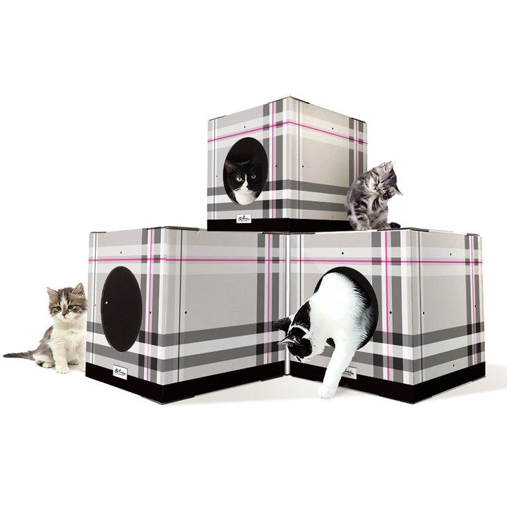 Stackable Cat Box house,  Cardboard Cat Box Furniture, Cat Toy Furniture, Furniture Cat Box, Plaid Print, 4 Pack by Catlovebox on Etsy https://www.etsy.com/listing/265620213/stackable-cat-box-house-cardboard-cat