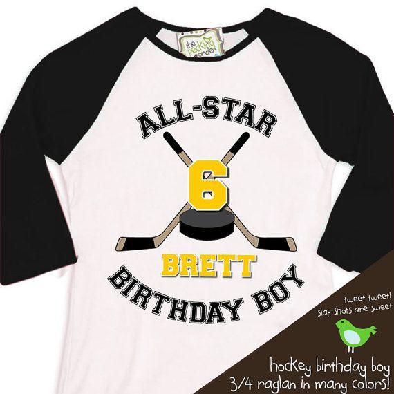 HOCKEY Birthday Boy shirt  ALL STAR hockey sports by zoey's attic