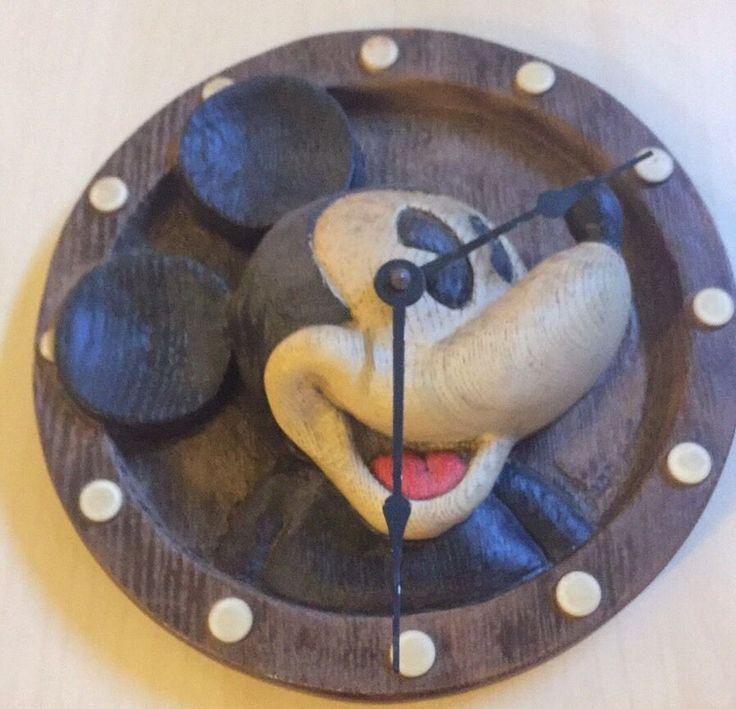 Vintage Walt Disney Mickey Mouse Faux Wood Wall Clock Works Tested #WaltDisney
