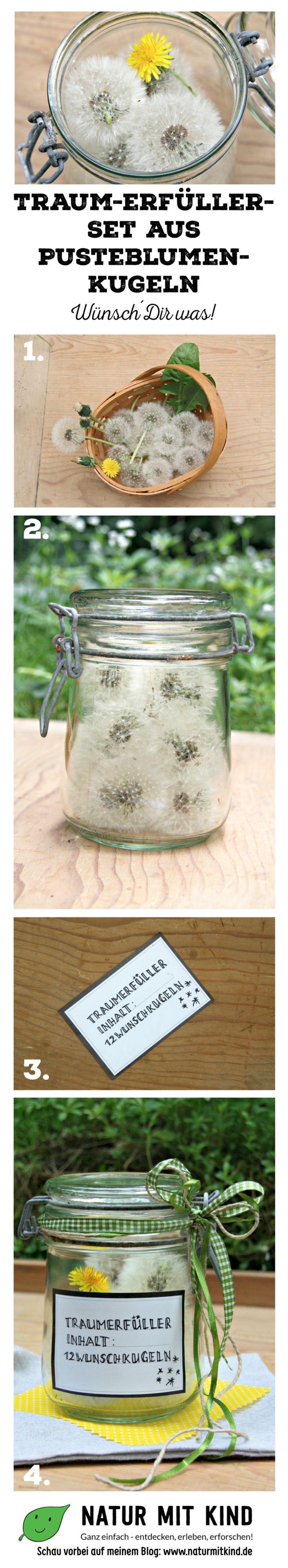 DIY Tutorial: Anleitung für ein traumhaftes Geschenkset: Traum-Erfüller aus Pusteblumenkugeln. Für jeden Monat des Jahres ein Wunsch! Samenkugel vorsichtig entnehmen, pusten & wünschen! Toll fü