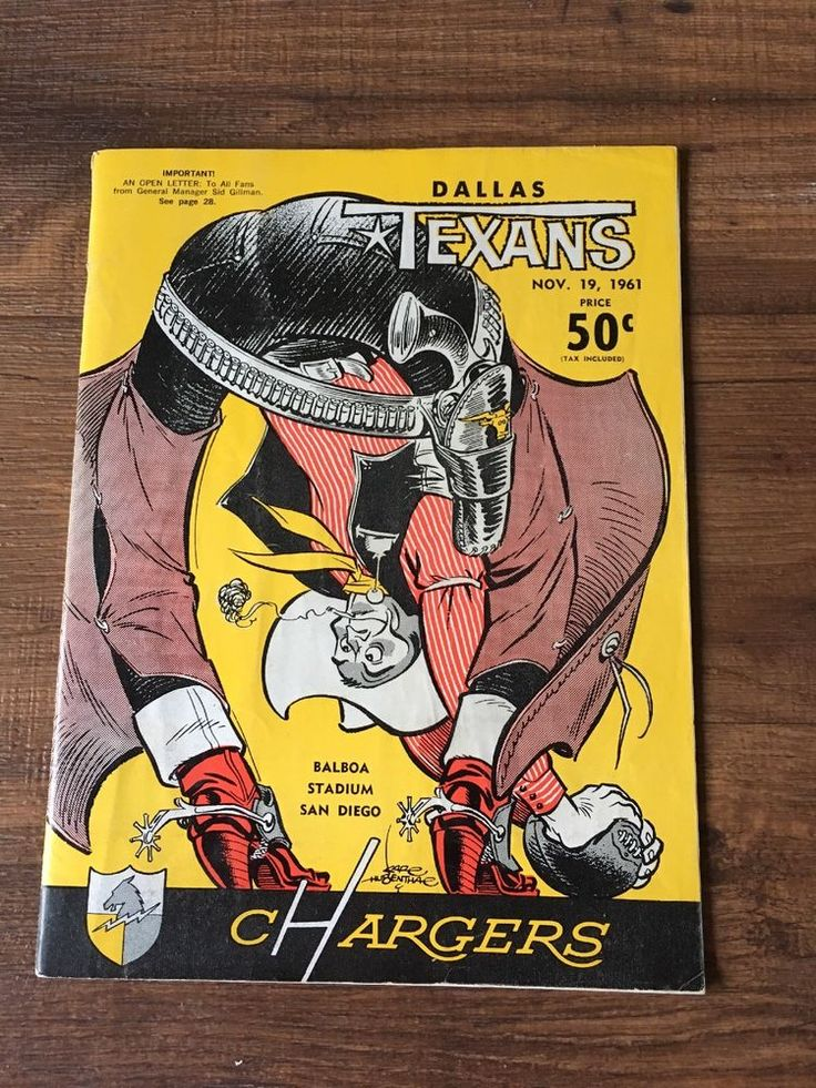 Vintage 1961 San Diego Chargers Dallas Texans Football Game Program  | eBay