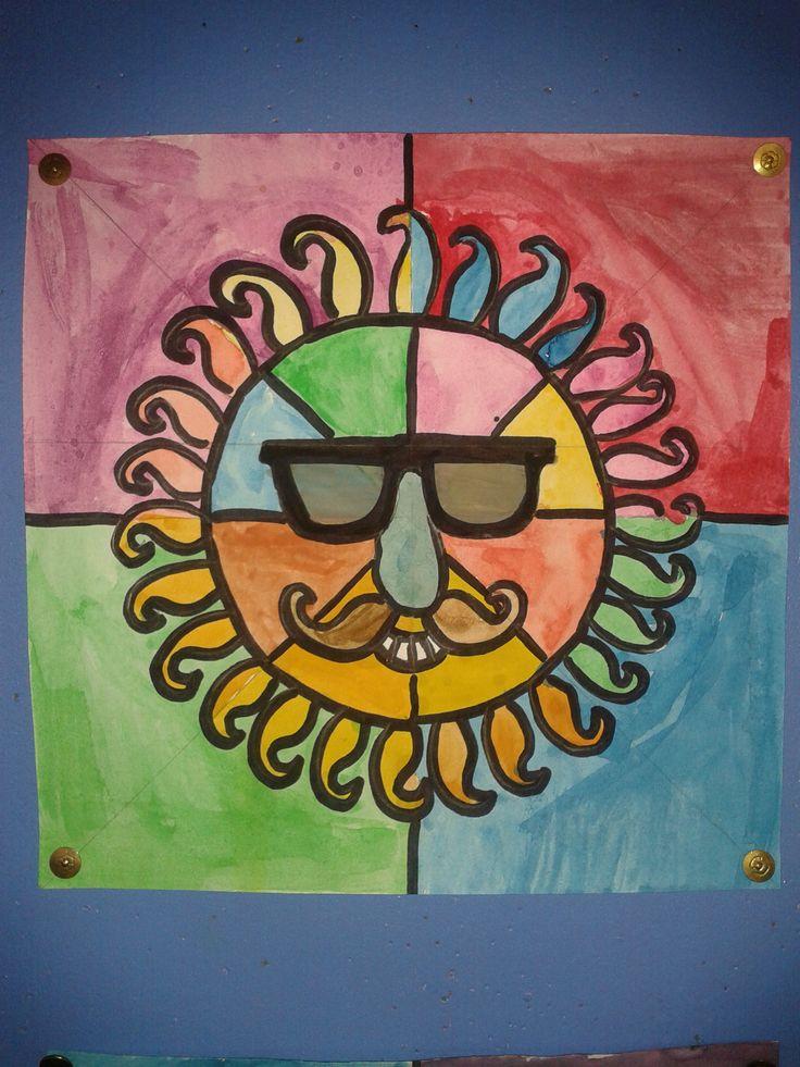 Zon 3...vel in 4 vakken verdelen, zon precies in het midden, inschilderen met waterverf (koude/warme kleuren), lijnen van potlood overtrekken met zwarte stift