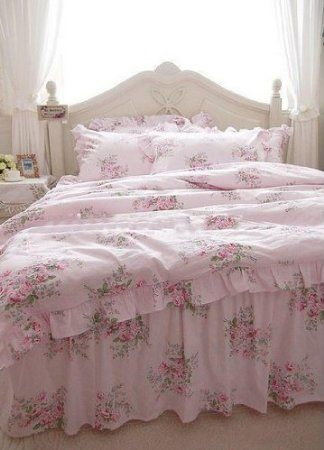 Shabby and Elegant Pink Roses Duvet Cover Bedding set-rose bedskirt