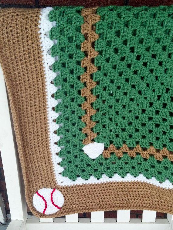 Baseball Baby Afghan Baseball Blanket by HookedbyNea on Etsy