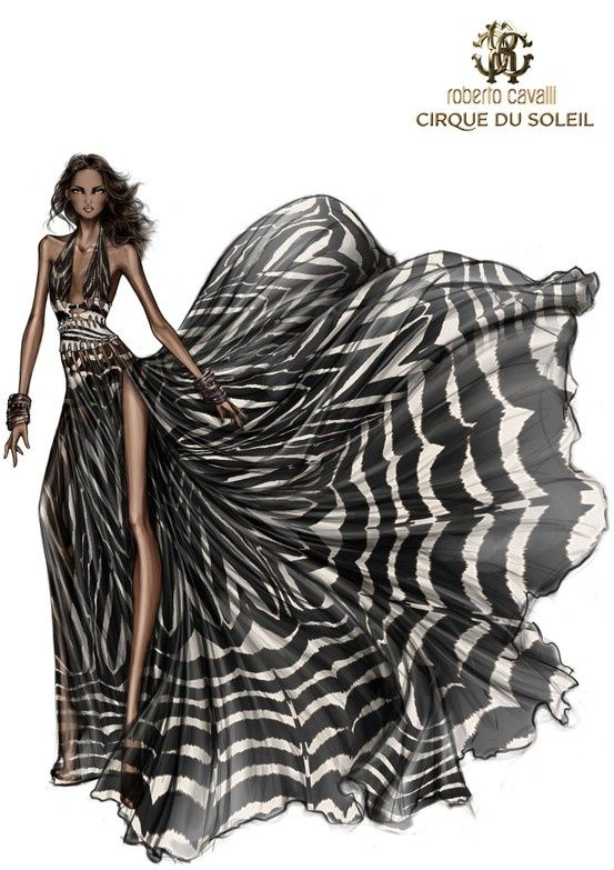 Fashion Design Illustration by Roberto Cavalli. Black and White Maxi Dress!  We teach students how to design like this! We have a short ebook course if your interested in learning how to draw your fashion designs quickly and easily.. more details here on our website: www.fashion-design-course.com
