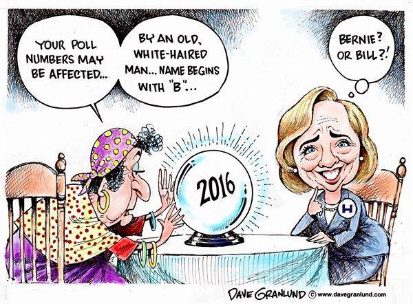 Hillary poll numbers slip, Dave Granlund,Politicalcartoons.com,Hillary, Clinton, democrat, campaign, Bernie, sander, bill Clinton, bubba, election, presidency, 2016, iowa, nh, primary, caucus, democrats, polling, polls