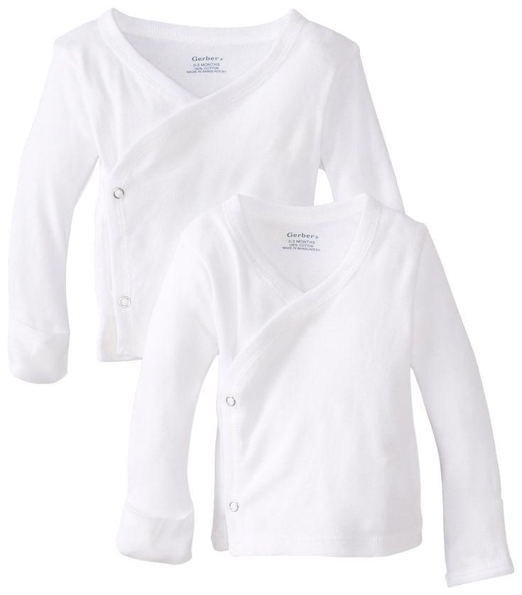 Gerber Unisex-Baby Newborn 2 Pack Long Sleeve Side Snap Mitten Cuffs Shirt, White, 0-3 Months