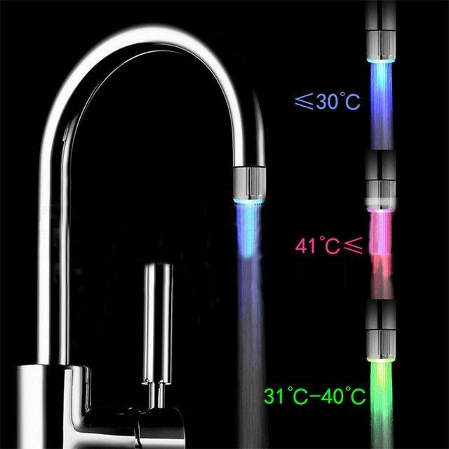 Rbg 3color Led Light Change Faucet Shower Water Tap Temperature Sensor No Battery Faucet Glow Shower Left Screw Kitchen Fixture Led Faucet Faucet Shower Faucet