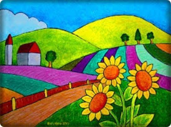 24 Lukisan Pemandangan Gunung Yang Mudah Digambar Perpaduan Warna Yang Hidup Dari Lukisan Gunung Ini Mempercantik Di 2020 Painting Pemandangan Gambar Flora Dan Fauna