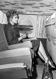 Princess Grace in an airplane at Orly airport, March 18, 1961.