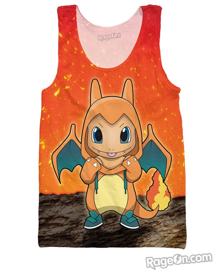 $49.84 USD-This Carmander tank top is from one of our newest artists, #itsbirdy!! #charmander #tanktop #pokemon #tank