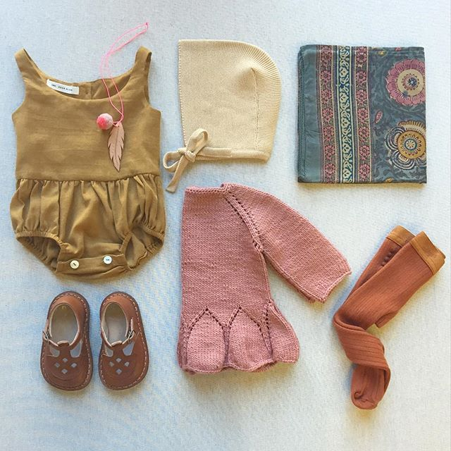 Can't get enough of this combo! Soor Ploom LOIS playsuit in ochre, Misha and Puff peplum pullover in rose, Indian print scarf in ancient floral, vintage bonnet in sunflower, tights in gingerbread, Ezra shoes, Yume feather and pompon necklace
