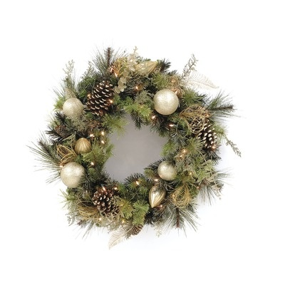 LB International Clear Decorated Wreath With Cones #Wayfair