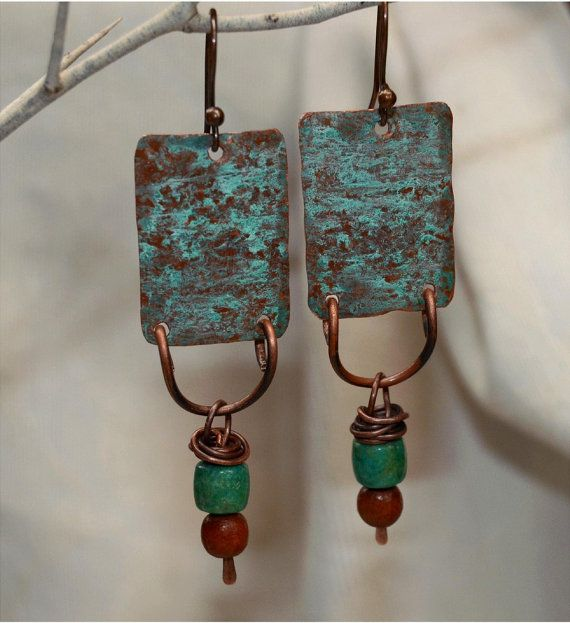Rustic Copper Earrings by SunStones on Etsy, $15.95