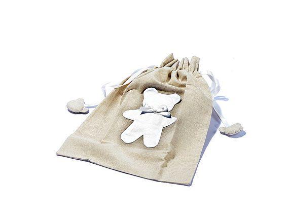 Sacchetta porta ricambio con Orso / Bag for the change in cotton and linen di EffeCremona