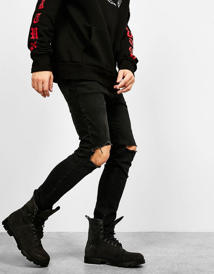 Men Fashion Accessories and Clothing Tips – White Jeans For Men Black Ripped Jeans, Skinny Fit Jeans, Blue Jeans, Blue Jean Dress, Jeans Material, Jeans Dress, Fall Winter Outfits, Distressed Denim, Casual Outfits