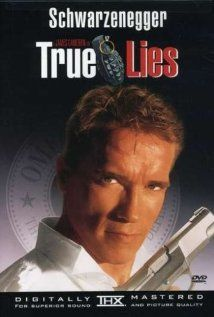 True Lies (1994) Secret Agent who lives a secret life at home. No one at home knows what he does. This movie is about the wife finding out...eventually what he does and lots of action happens. Good movie. 4 of 5