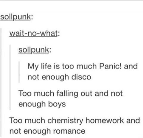 Hahahahaha!!!! mcr, my chemical romance, fob, fall out boy, P!atd, panic at the disco, tumblr, funny, humor, bands, bandom, punk music my life!
