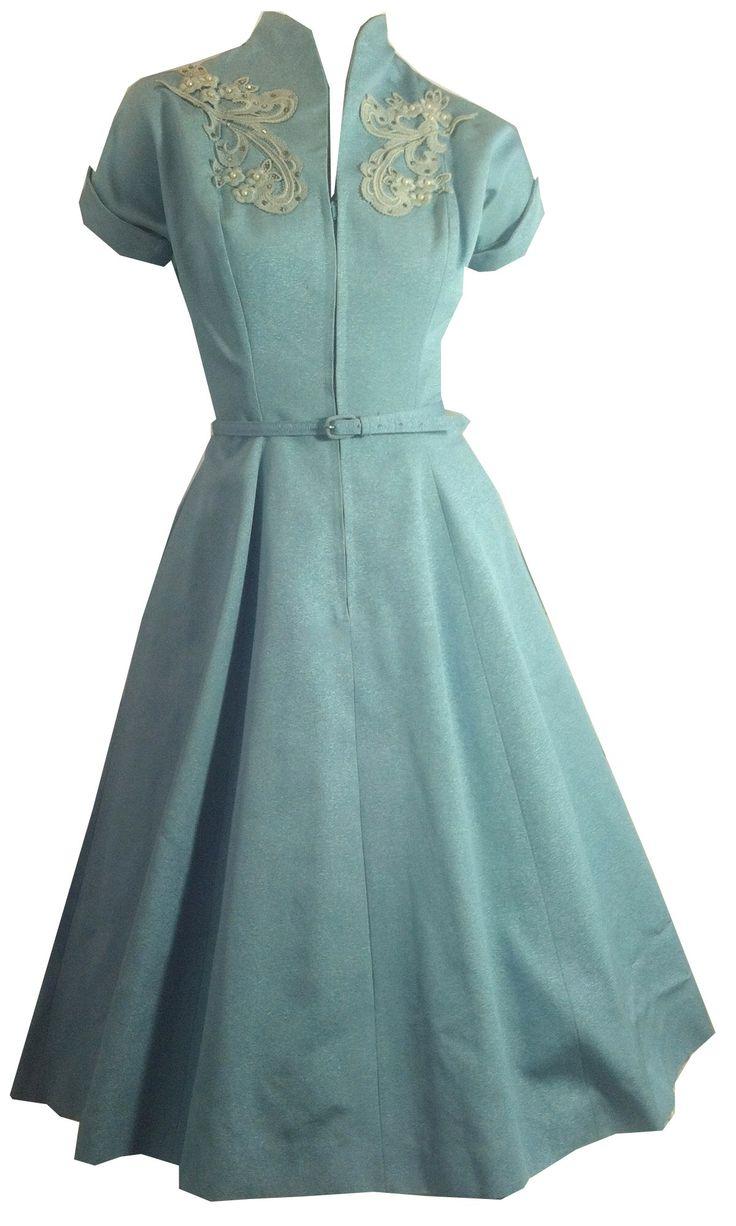 Shimmering Blue Faille Rayon Princess Seamed Dress w/ Rhinestones circa 1950s