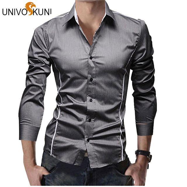 Great Value $7.89, Buy UNIVOS KUNI Men Striped Shirt Long Sleeve Fashion Spring Dress Camisa Social Slim Fit Mens Formal Shirts Plus Size RHY463