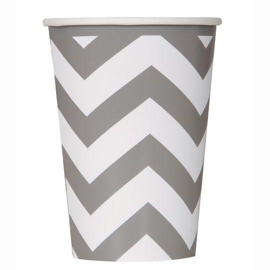 12oz Silver Chevron Paper Cups, 6ct