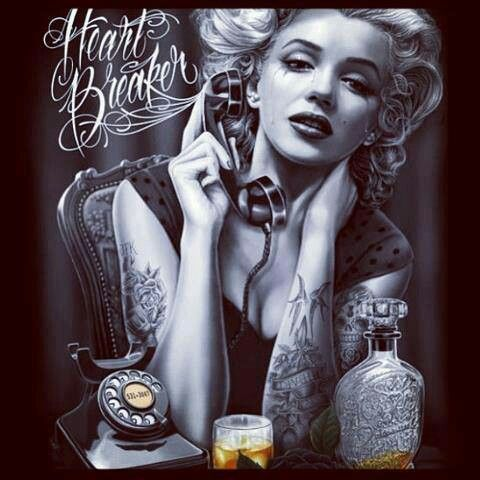Heartbreaker marilyn monroe pinterest for Marilyn monroe with tattoos poster