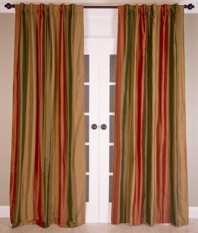 Striped Silk Room Darkening Rod Pocket Panel Pair In 2021 Half Price Drapes Striped Room Rod Pocket Panel