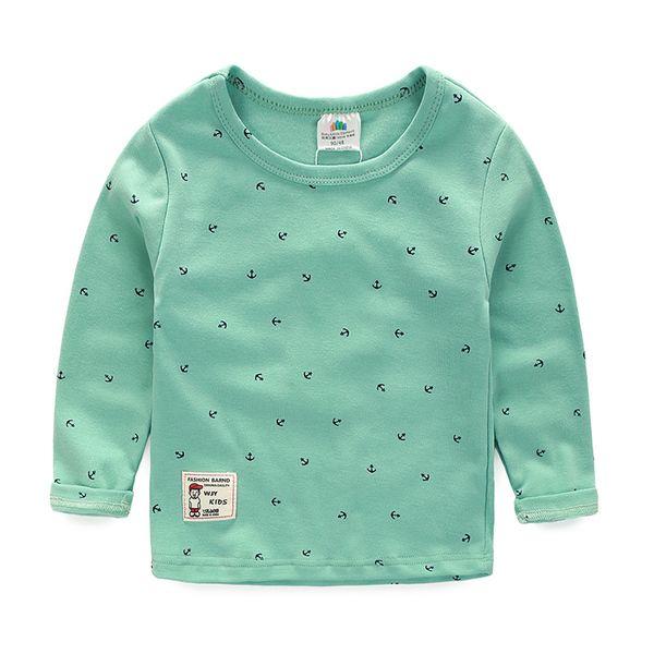 2017 весна корейской версии новой модели мальчики девочки детская одежда ребенок ребенок с длинными рукавами футболки дна рубашки Техас-4716