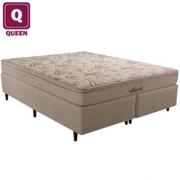 Ricardo Eletro Cama Box Queen Size Herval + Colchão Atlanta Bambu Mola Bonnel C/ Pillowtop 51 X 158 X 198cm - R$692