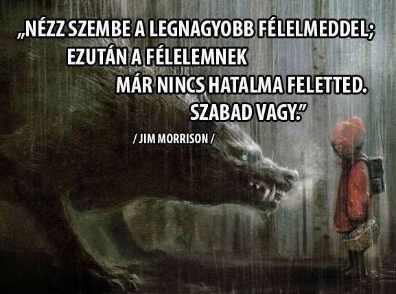 Jim Morrison idézete a félelem legyőzéséről. A kép forrása: Magyar Meditációs Közösség # Facebook