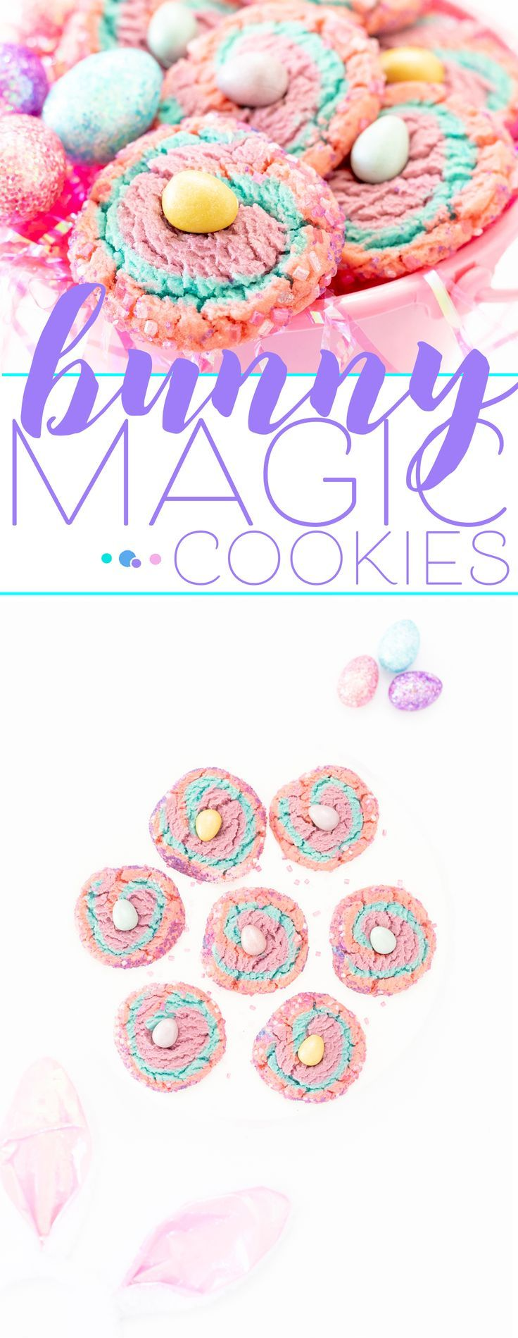 Bunny Magic Swirl Cookies. Pretty Easter dessert recipe using Cadbury Shimmer Mi…   – Easter
