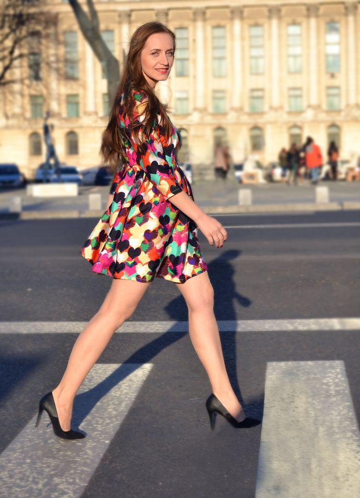 heart print dress street style fashion