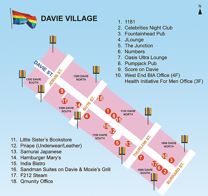Davie Village Map. Copyright Gayvan.com