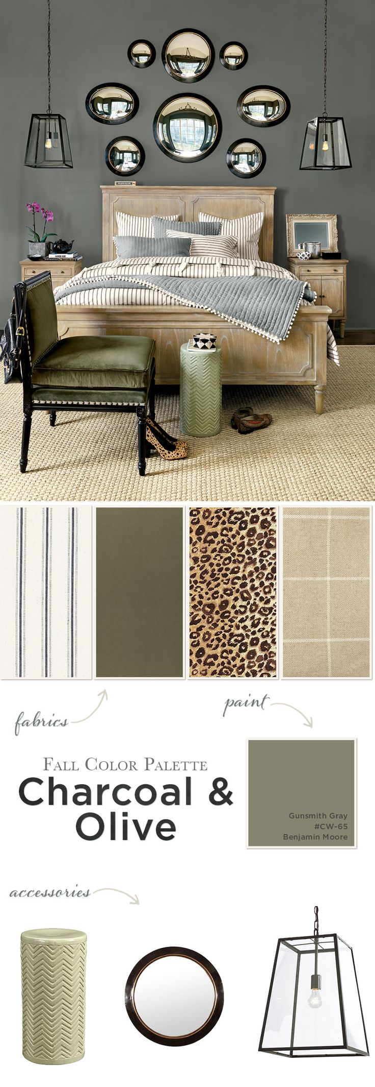 #Decorate you #house with Fall Color Palette: Charcoal & Olive. #HomeDesign