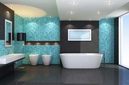 Contemporary Bathrooms with glass tilewith teal color | Forrige | Neste