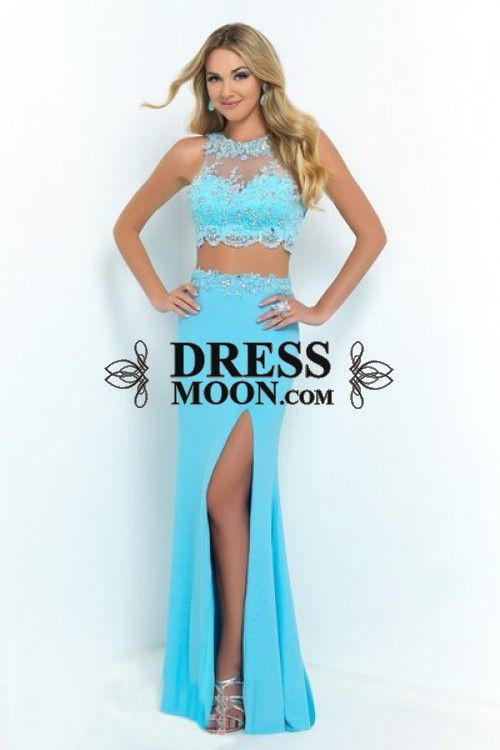 2015 Prom Dresses Chiffon floor length with a sweeping train and high leg slit - Evening Dresses - Social Occasion
