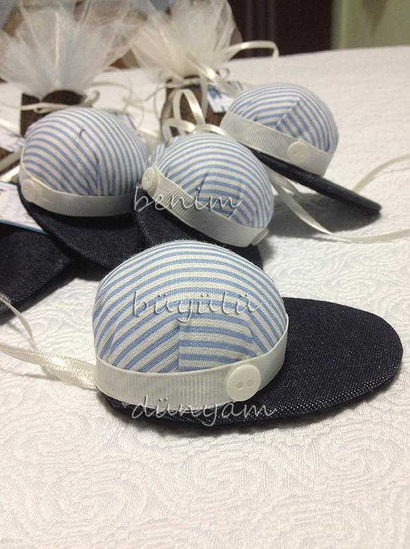 Şapka bebek şekeri lavanta kesesi, doğum organizasyonu için farklı lavanta keseleri, erkek bebek için mevlüt şekeri, hastane odası süslemesi