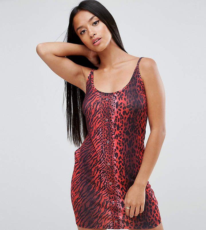 Asos Petite Mini Dress With Popper Detail In Red Leopard #leopardprint #affiliate