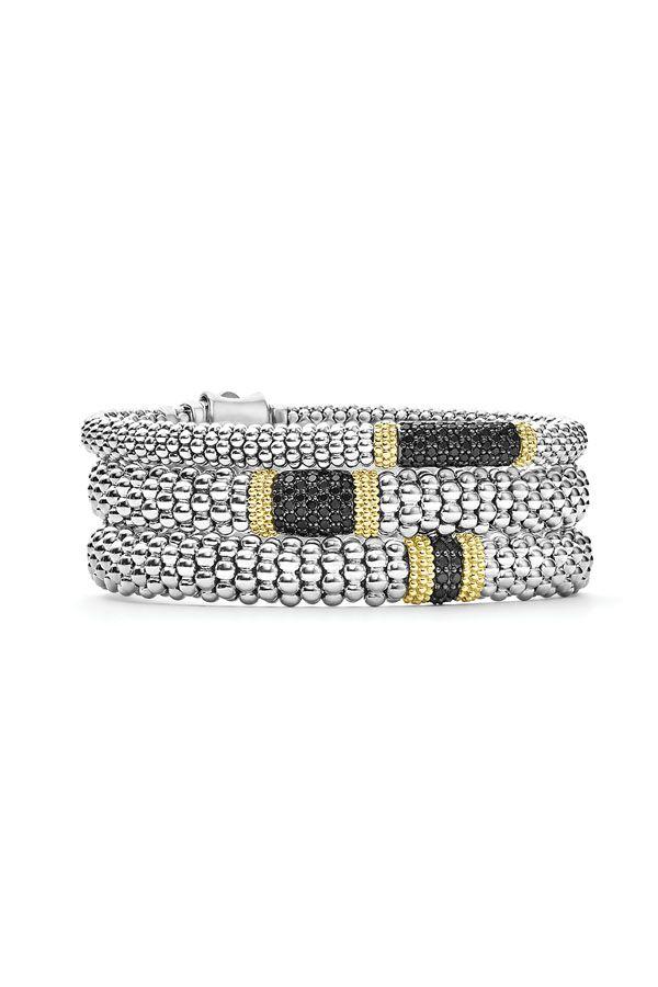 UK Ladies Designer Diamante Bead Black Wrap Bracelet Bangle Jewellery