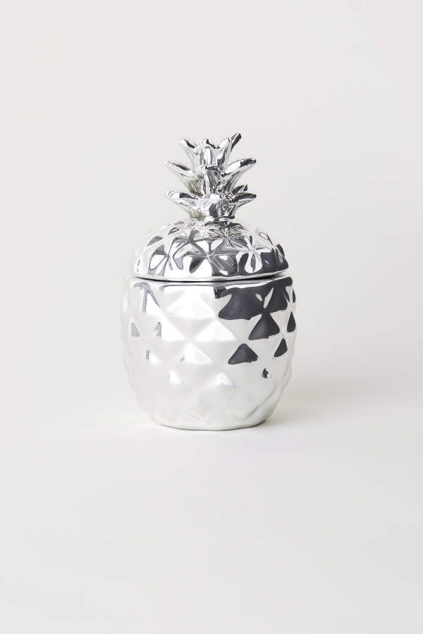 Hm H M Candle In Ceramic Holder Silver Coloredpineapple H