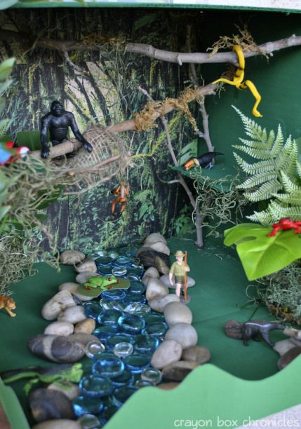 "Rainforest small world, in a cardboard box - from Crayon Box Chronicles ("",)"