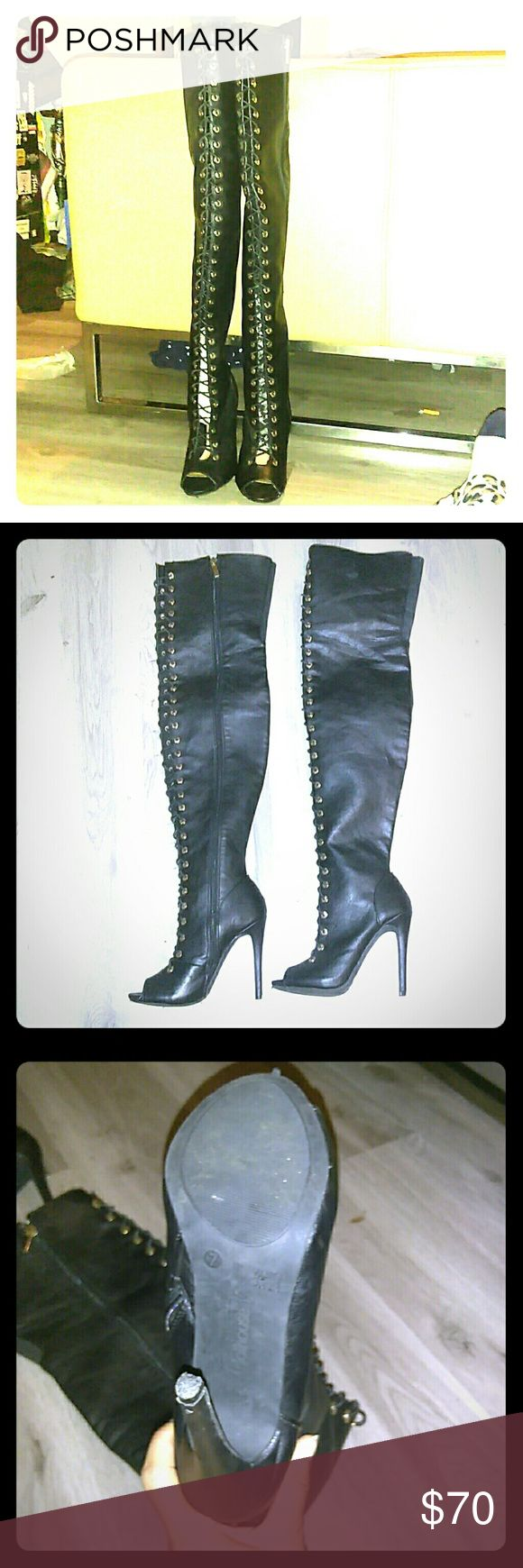 Women thigh high boots Size 7, wore once. Dollhouse Shoes Over the Knee Boots