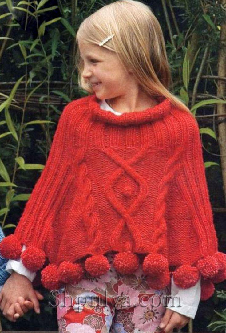 Красное вязаное пончо с косами для девочки