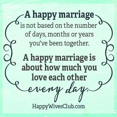 A happy marriage is not based on the number of days, months or years you've been together. A happy marriage is about how much you love each other every day.