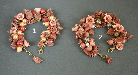 Charm Bracelet handmade Jewelry brown bracelet polymer by TomikArt