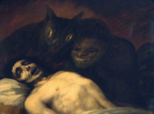 Detail from a Goya painting depicting an exorcism in the Valencia Cathedral #demons #possession #creepy