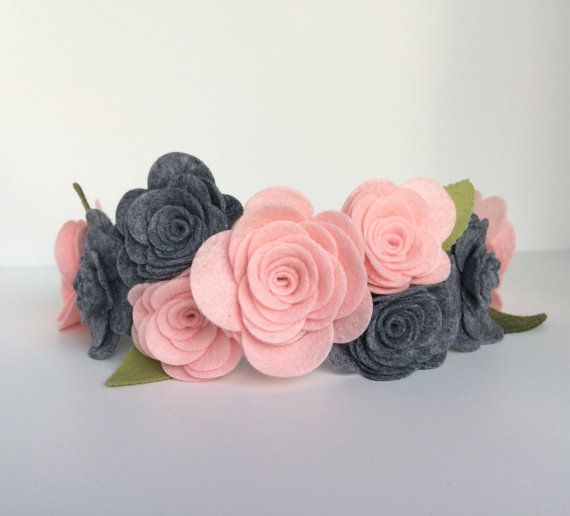 Felt Flower Headband Felt Flower Garland by UponAStarBowtique