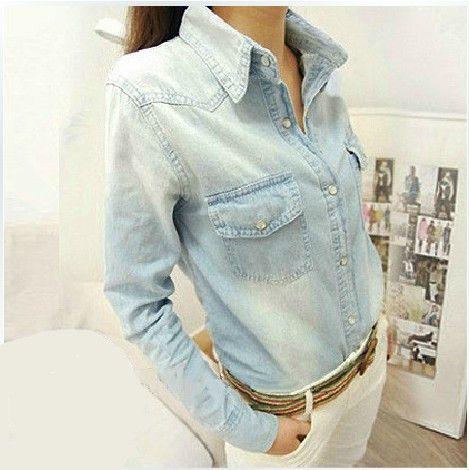 2014 Европа Стиль Мода женщин джинсовые рубашки Ретро длинным рукавом Джинсы Блуза Vintage Denim Blue Свободный Плюс Размер блузка Топы, принадлежащий категории Блузки и рубашки и относящийся к Одежда и аксессуары на сайте AliExpress.com | Alibaba Group